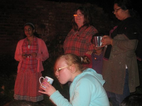 The evening meeting goes outside with hot choc and some more worship songs